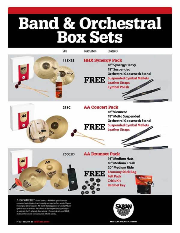SABIAN Band & Orchestral Pack Specials